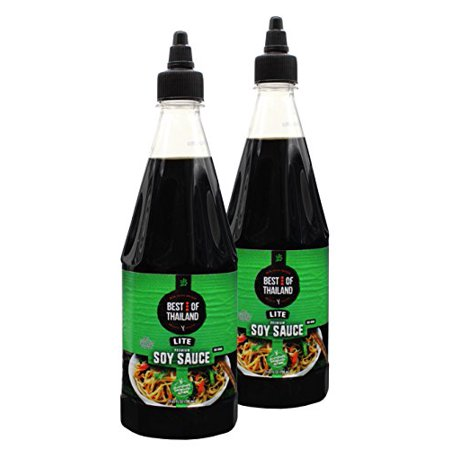 Premium Lite Soy Sauce Low Sodium – No MSG – Kosher – Real Asian Brewed – Ideal for Marinating Fish, Meat & Roasted Vegetables – Squeezable Bottle - (Pack of 2 23.6-oz Bottles) By Best of Thailand
