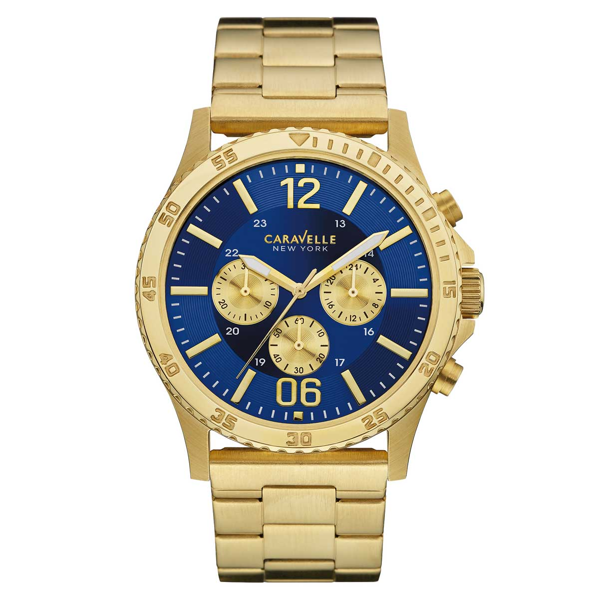 Caravelle 44A106 Men's New York Chronograph Blue Dial Gold Yellow Steel Watch