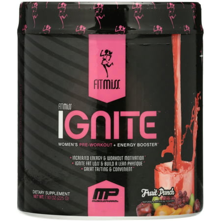 FitMiss Ignite Women's Pre Workout + Energy Booster Powder, Fruit Punch, 30