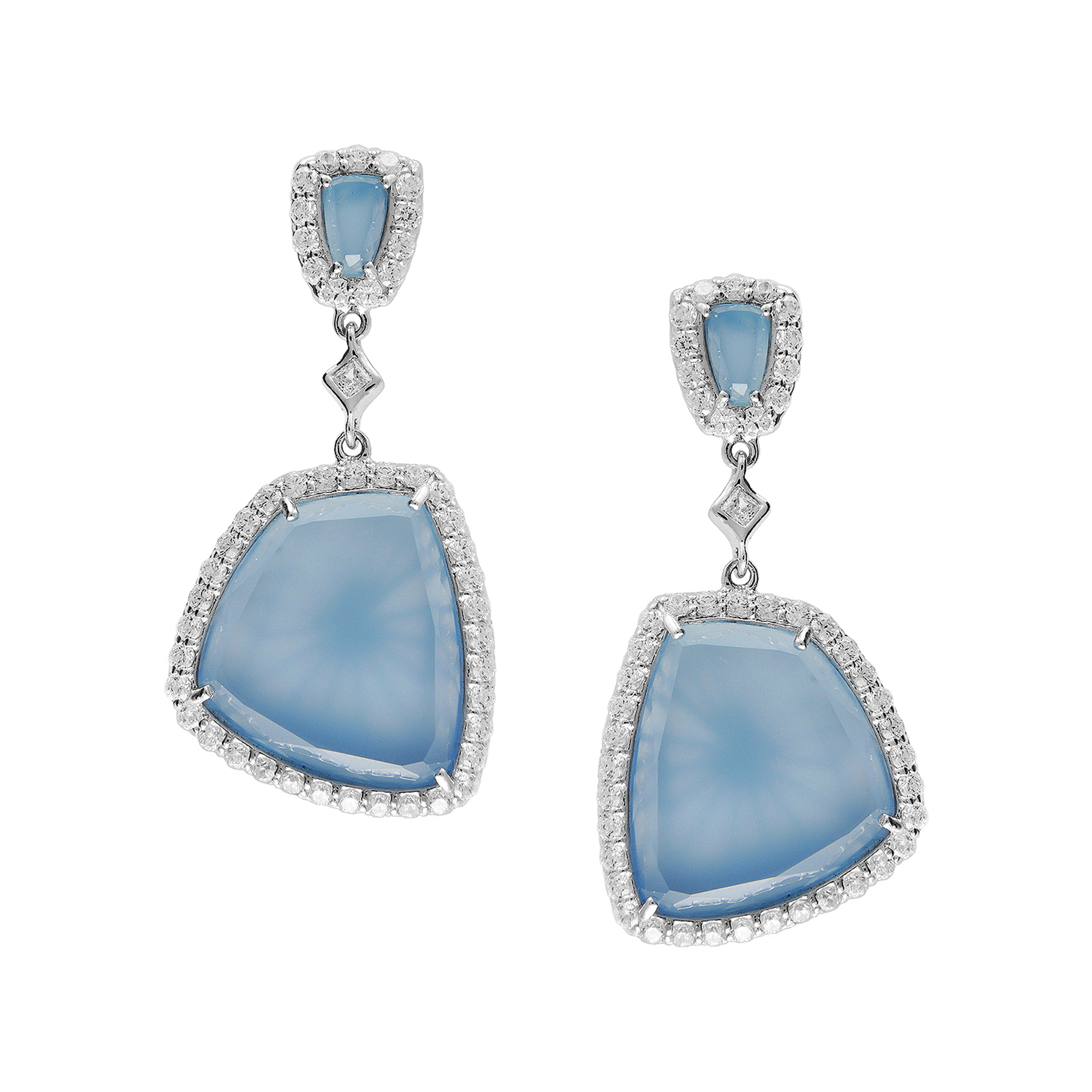 Sterling Silver Earrings Set With Blue Chalcedony accented with White CZ by TJM