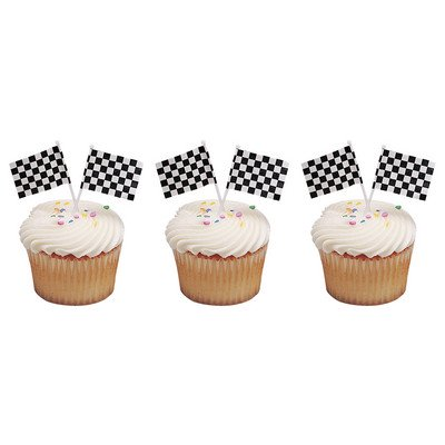 Checkered White & Black Racing Flags -24pk Cupcake / Desert / Food Decoration Topper Picks with Favor Stickers & Sparkle Flakes for $<!---->