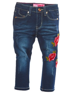 c5d3b79907 Product Image Girls Kids Casual Rose Embroidery Patch Wash Denim Jeans  17-83543T-2T-Dark