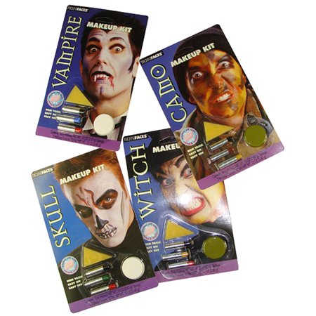 Club Pack of 24 Camouflage, Vampire, Witch and Skull Halloween Makeup Sets - Tutorial Halloween Makeup Skull