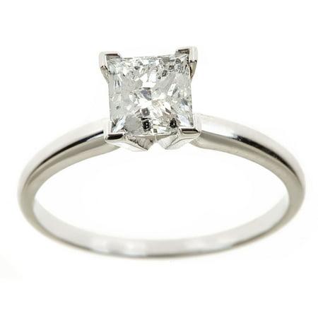 2 Carat T.W. Genuine Princess White Diamond 14kt White Gold Solitaire Ring, IGL (White Gold Princess Diamond Solitaire)