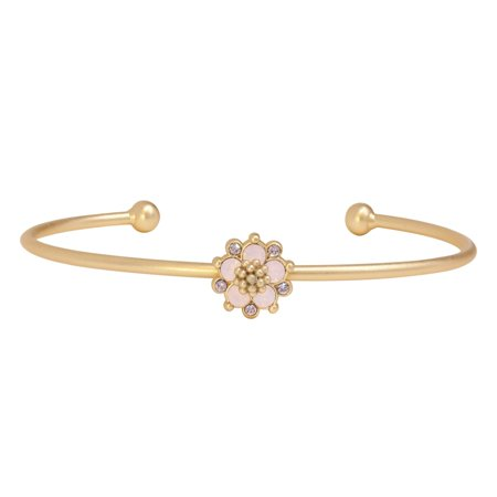 White Gold Pink Tourmaline Bracelet - Isla Simone  14K Gold Plated Pink Water Opal Flower Bangle Bracelet, Made with Swarovski Crystals