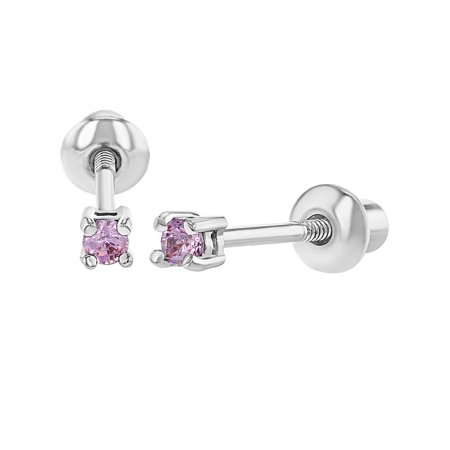 Rhodium Plated Extra Small 2mm Prong Set Round Baby Screw Back Earrings