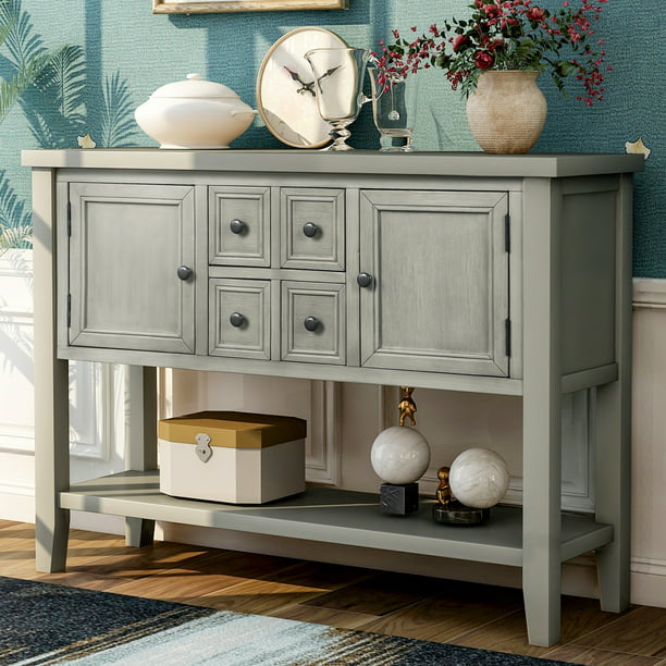 Buffet Cabinet Kitchen Storage Cabinet Sideboard Buffet Storage Cabinet W 1 Shelf 2 Cabinets 4 Storage Drawers Tv Stand Nbsp For Kitchen Office Bedroom 46 X 15 X 34 Antique Grey Q3731 Walmart Com