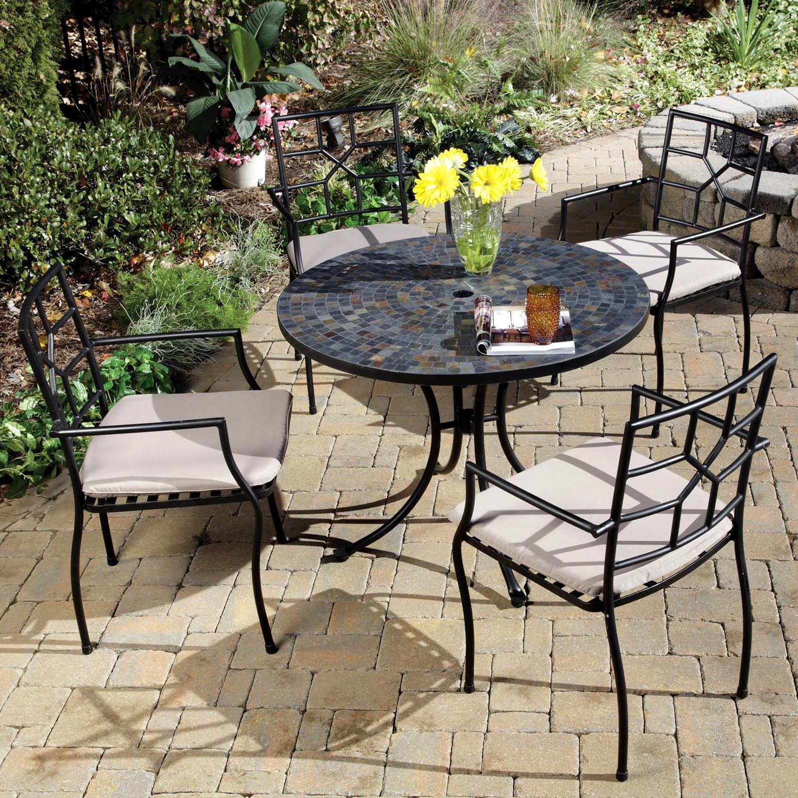 Home Styles 5 Piece Dining Set With Stone Harbor Table And Newport Slope Armchairs Black Slate