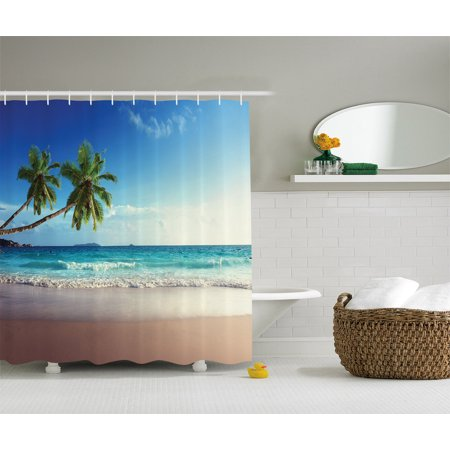palm tree decor tropical island scenery wave beach picture fabric shower curtain. Black Bedroom Furniture Sets. Home Design Ideas