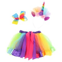 KABOER Unicorn Rainbow Girls Costume Tutu Party Fancy Dress Up and Wand and Headband Horn
