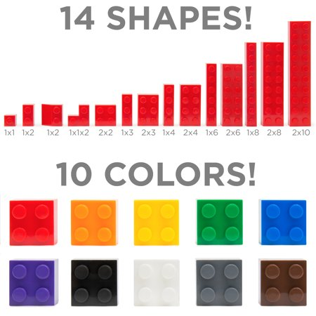 Best Choice Products Deluxe 1000-Piece Building Brick Blocks Set w/ Carrying Case, 14 Shapes, 10 Colors - image 5 de 5