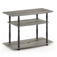 Furinno Turn-N-Tube No Tools 3-Tier TV Stands with Classic Tubes, French Oak Grey/Black