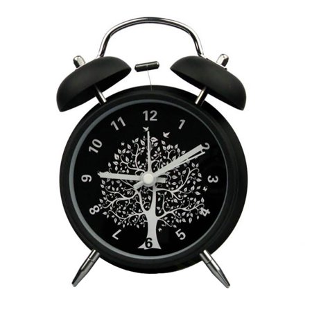 "Innolife 4"" Quiet Non-ticking Silent Quartz Analog Retro Vintage Bedside Twin Bell Alarm Clock With Loud Alarm and Nightlight (Wishing Tree)"