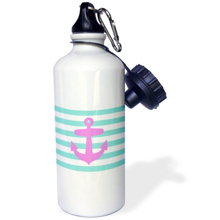 Blue Water Sailor (3dRose Retro Nautical pink anchor with teal turquoise blue sailor stripes pattern - French Breton Stripe, Sports Water Bottle, 21oz )