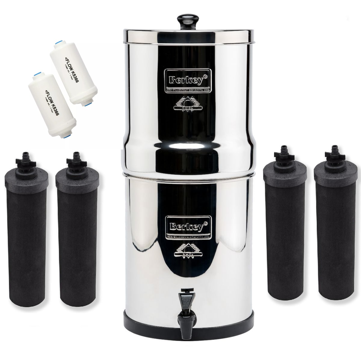 Imperial Berkey Water Purifier with 4 Black Filters and 2 PF2 Filters