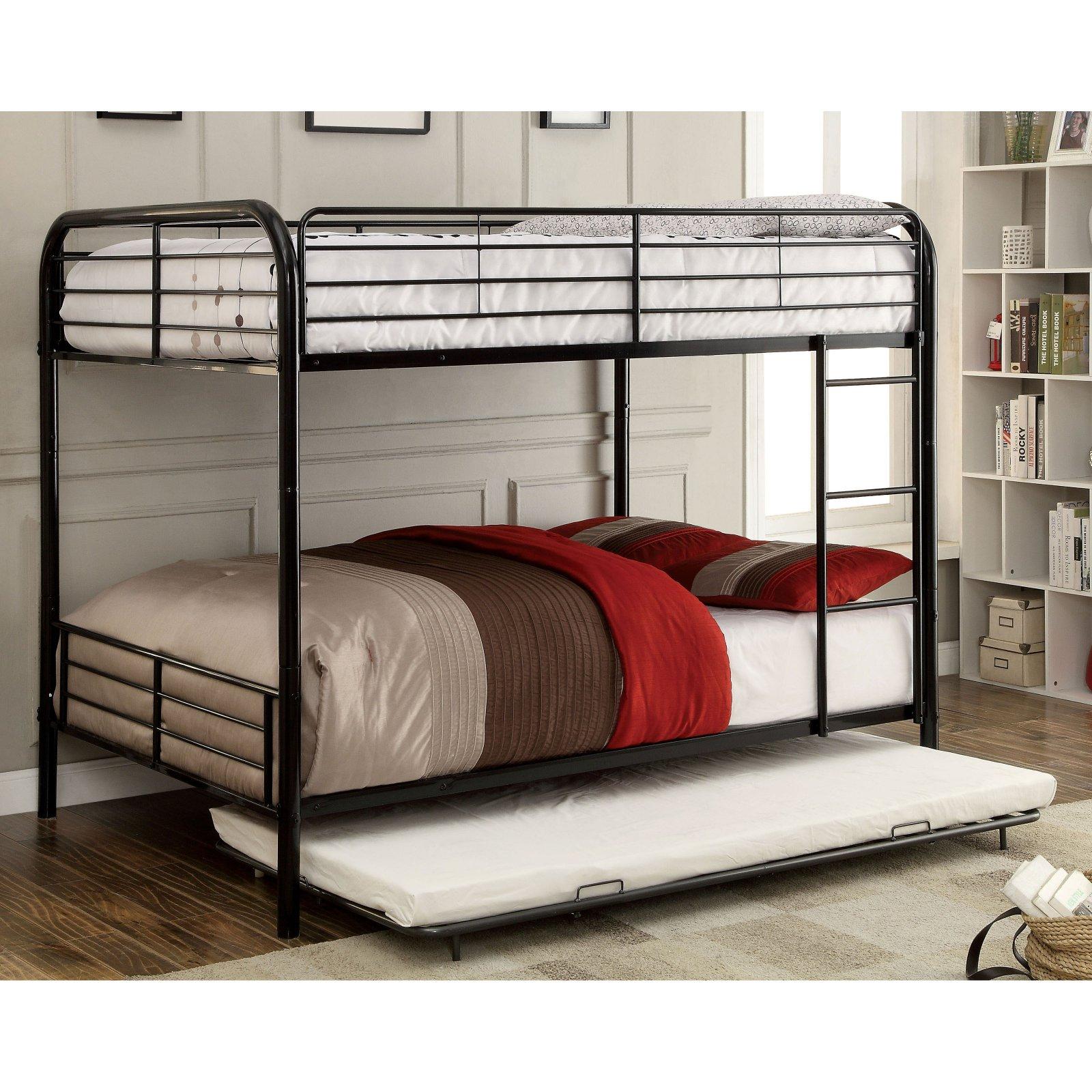 Furniture of America Langdon Metal Rail Full Over Full Bunk Bed