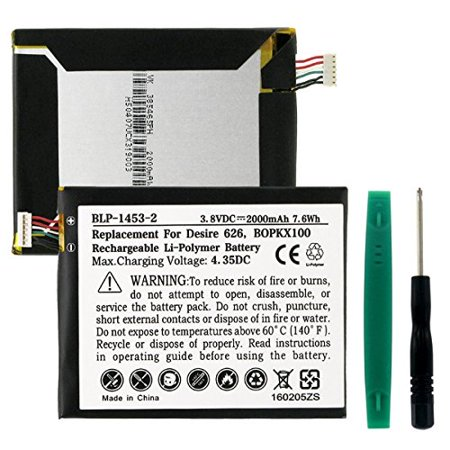 Htc Cell Phone Batteries - HTC DESIRE 626S Cell Phone Battery (Li-Pol 3.8V 2000mAh) - Replacement For HTC B0PKX100 and 35h00237-02M Cellphone Batteries (Embedded Battery w/ Tools)