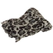 Womens Large Voile Leopard Lightweight Scarf Shawl Stole Throw Wrap
