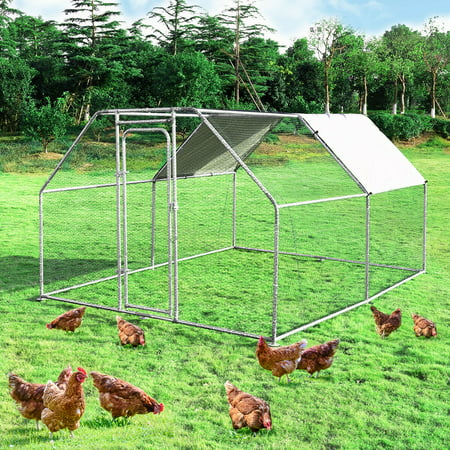 Costway Large Walk In Chicken Coop Run House Shade Cage 9.5' x12.5' with Roof