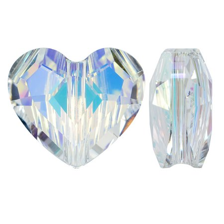 Swarovski Crystal, #5741 Love Heart Bead 12mm, 2 Pieces, Crystal AB](Crystal Bead)