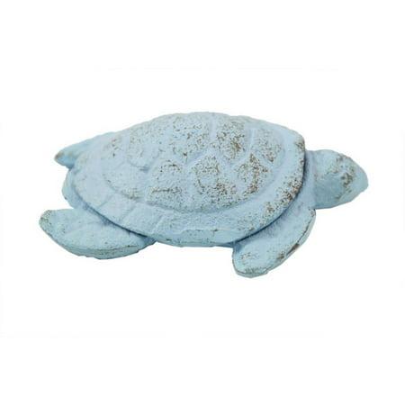 "Rustic Light Blue Cast Iron Decorative Turtle Paperweight 4"" - Sea Home Decor - Beach Theme"