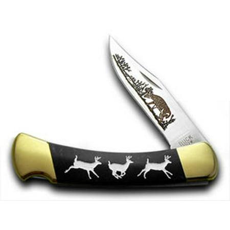 - BUCK 110 Custom Black Pearl Corelon Running Deer 1/400 Pocket Knife Knives