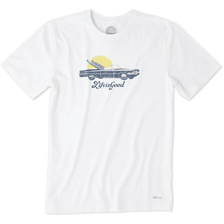 Life is Good. Mens Crusher Tee: Low Rider Surf , Cloud White