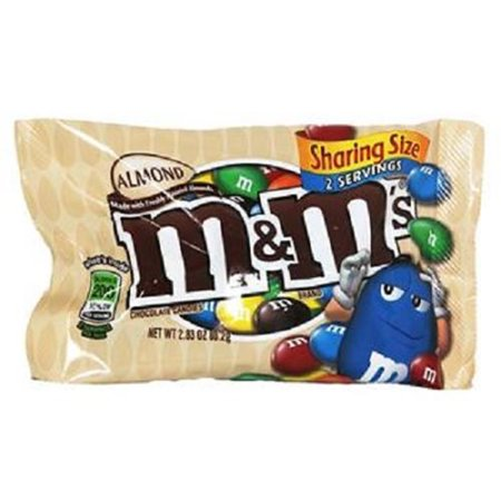 M&M'S Almond Chocolate Candy Sharing Size 2.83-Ounce Pouch 18-Count Box](M&m Sharing Size)