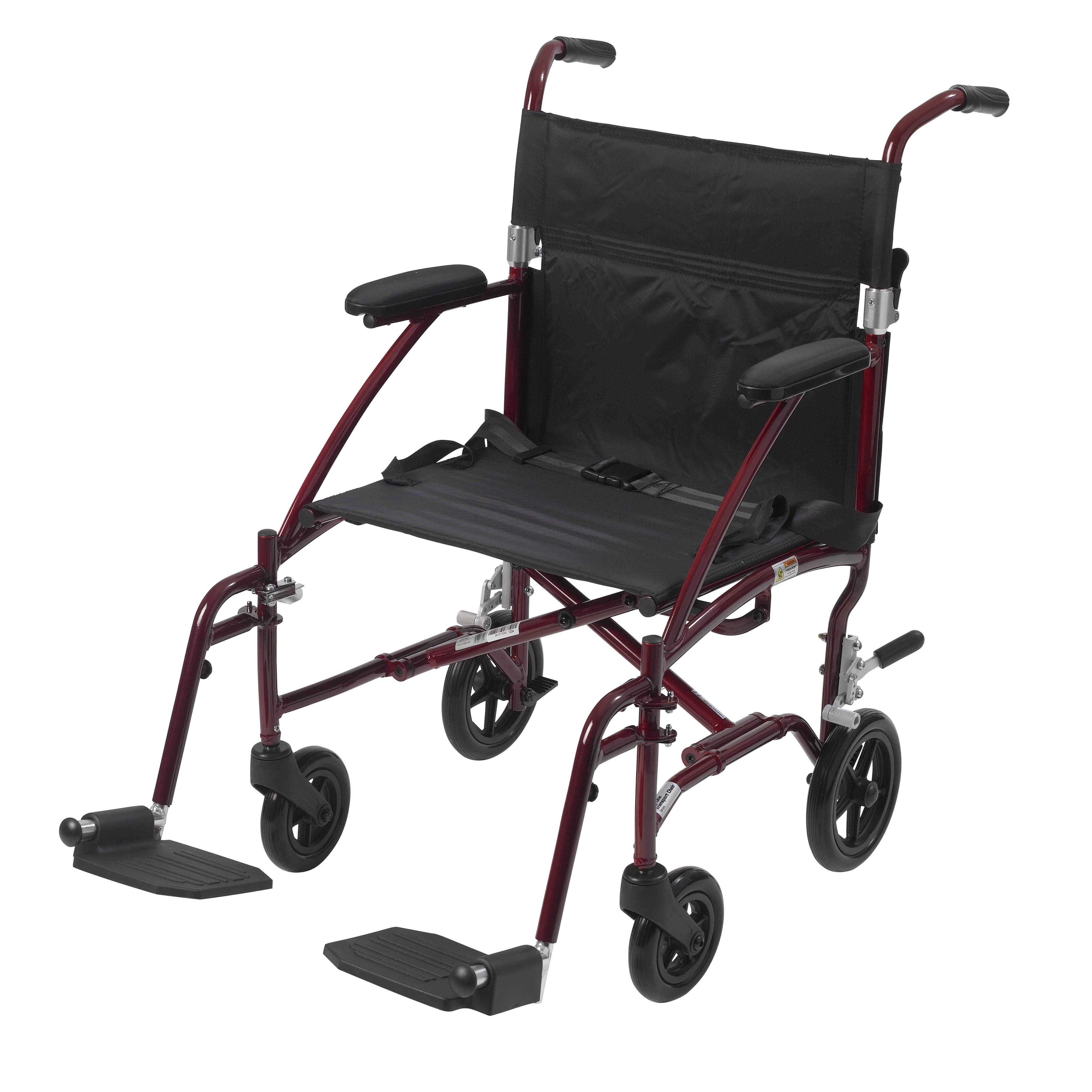 Drive Medical Fly Lite Ultra Lightweight Transport Wheelchair, Burgundy