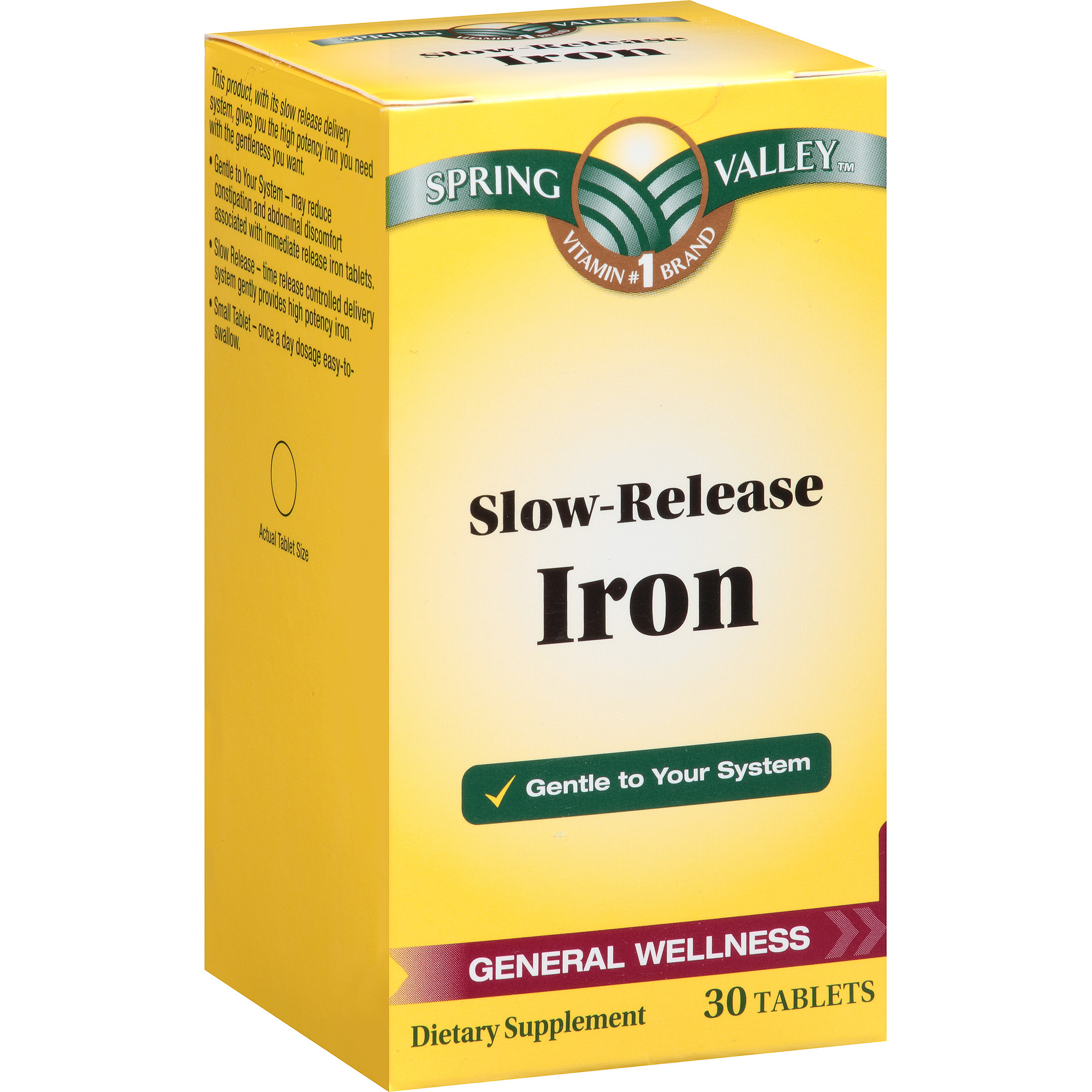 Spring Valley Slow-Release Iron Dietary Supplement Tablets, 30 count