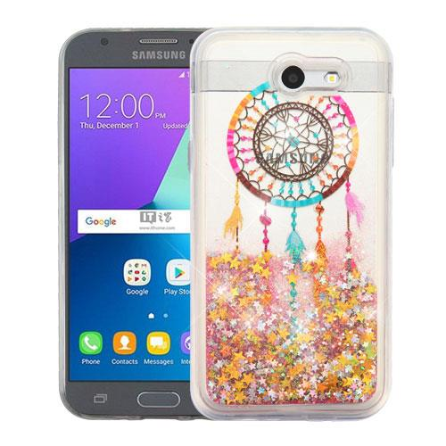 For Samsung Galaxy J7 Case (2017) / Galaxy J7 Perx Case / Galaxy J7 Sky Pro Case / Galaxy J7V Case / Galaxy J7 V Case Hybrid Quicksand Liquid Glitter TPU(Dreamcatcher & Gold Quicksand (Stars) Glitter)