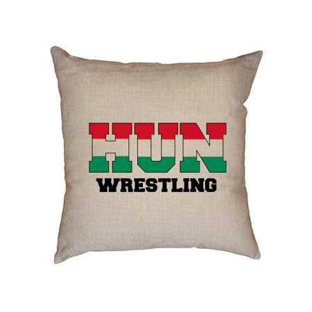 Hungarian Linen (Hungary Wrestling - Olympic Games - Rio - Flag Decorative Linen Throw Cushion Pillow Case with Insert )