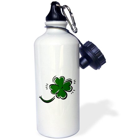3dRose sketchy four leaf green clover st patrick, Sports Water Bottle, 21oz