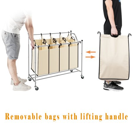 Laundry Sorter 4-Bag Heavy-Duty Rolling Divided Laundry Hamper Cart with Removable Bags and Brake Casters Chrome