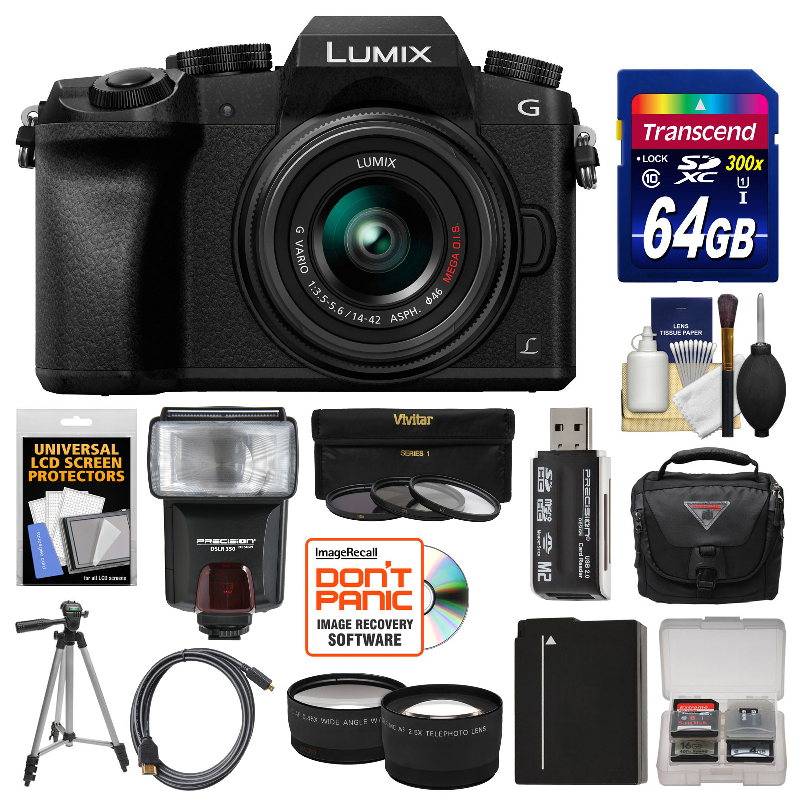 Panasonic Lumix DMC-G7 4K Wi-Fi Digital Camera & 14-42mm Lens (Silver) with 64GB Card + Case + Flash + Battery... by Panasonic
