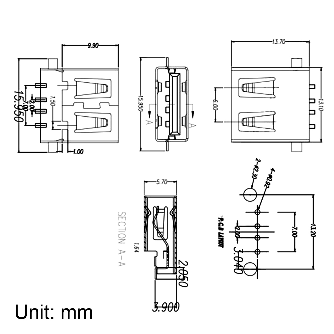 PCB USB Connector Type-A Female Jack 180 Degree SMT SMD 20pcs - image 3 of 4