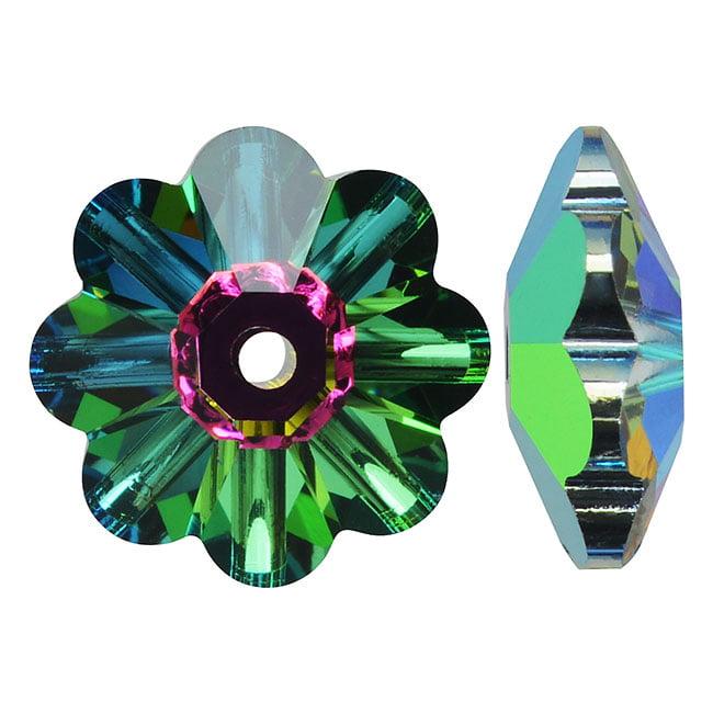 Swarovski Crystal, #3700 Flower Margarita Beads 12mm, 4 Pieces, Crystal Vitrail Medium UNF