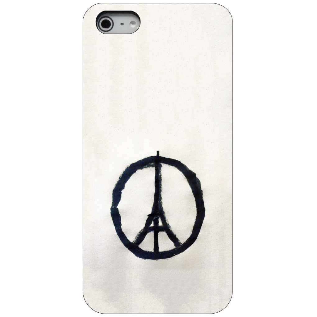 CUSTOM Black Hard Plastic Snap-On Case for Apple iPhone 5 / 5S / SE - Paris Peace Symbol