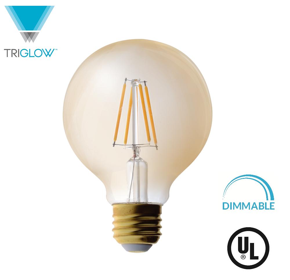TriGlow LED 4.5 Watt (40W Equivalent) Amber Glass G25 Globe Bulb, DIMMABLE 2200K Color, 350 Lumens, E26 Medium Base LED Light Bulb