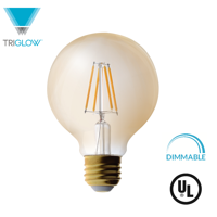 TriGlow LED 4.5 Watt (40W Equivalent) Amber Glass G25 Globe Bulb, DIMMABLE 2200K Color, 350 Lumens, E26 Medium Base LED Light Bulb