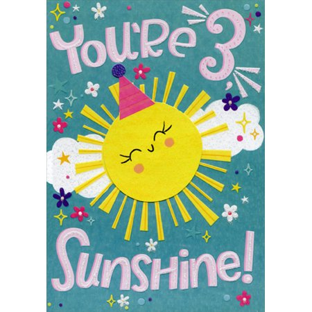 Designer Greetings Sunshine Spring Activated Pop Out Age 3 / 3rd Birthday Card for Girl with (Pop Out Birthday Cards)