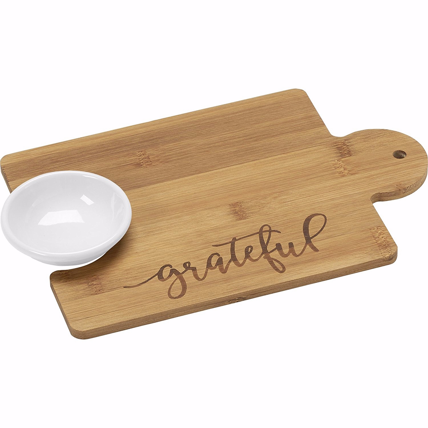 Bountiful Blessings by Precious Moments 171496 Grateful Puzzle Piece Bamboo Cutting Board 12-inches by 8-inches