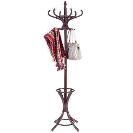 Gymax Wood Standing Hat Coat Rack Jacket Bag Hanger Tree 12 Hooks w/ Umbrella - Element Wool Hat