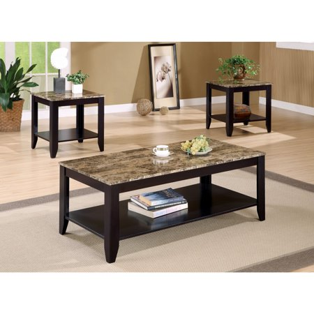 Artistic 3 piece Occasional Table Set with Marble Top, Brown (Top Occasional Table Set)