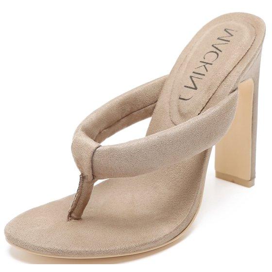 0b1ea63becd47f Mackin J - 254-3 Velvet Thong Open Toe Slip On Slide Mules Nude ...