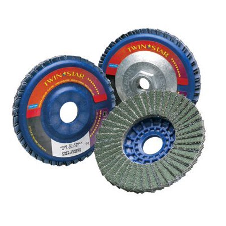 Type 27 TwinStar Flap Discs, 7 in, 40 Grit, 5/8 Arbor, 8,500 rpm - 5 (Rpm Spare Disk)