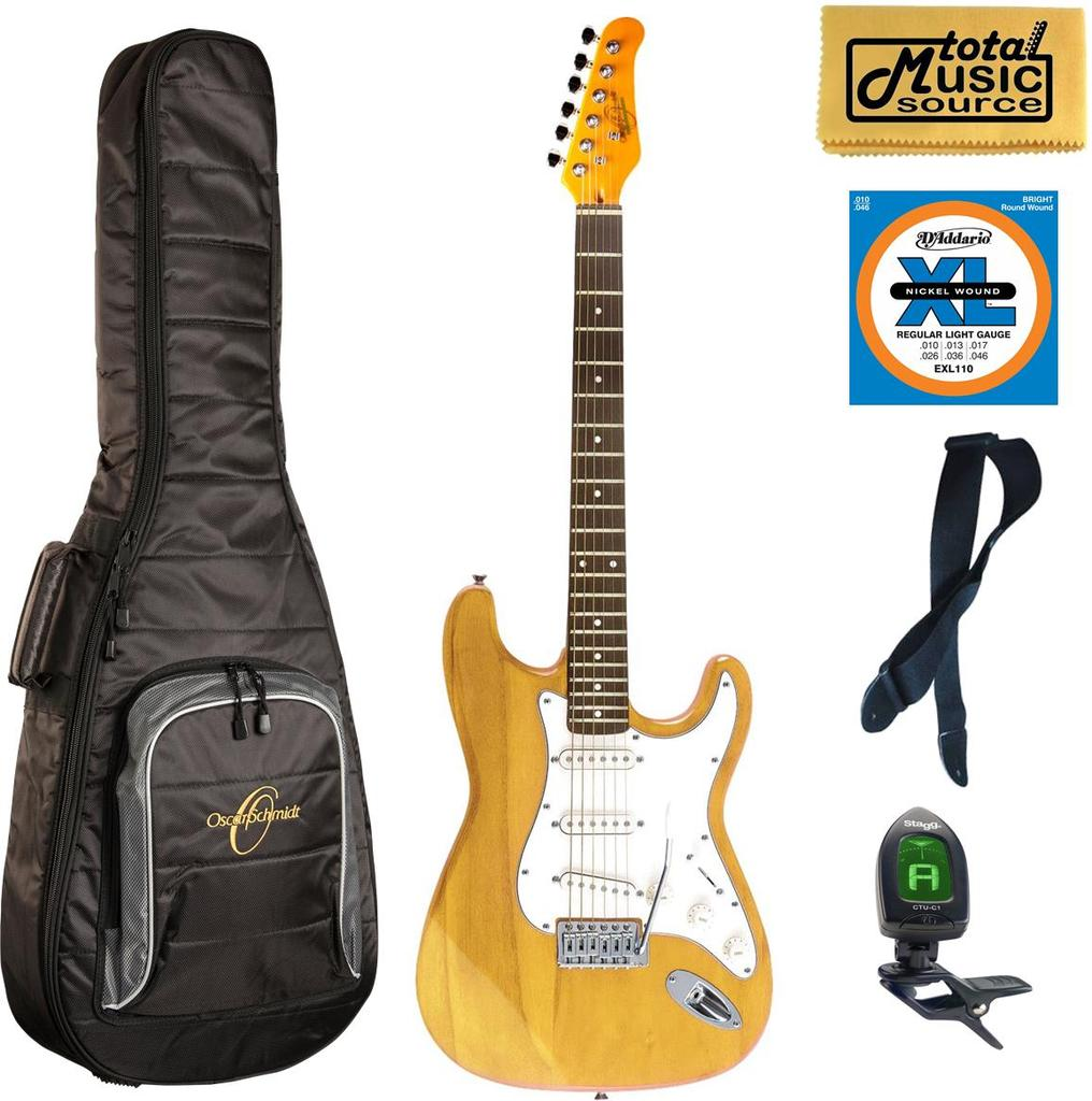 Oscar Schmidt Double Cutaway Electric Guitar, Natural, OS-300 NH Bag Bundle, OS-300 NH BAGPACK