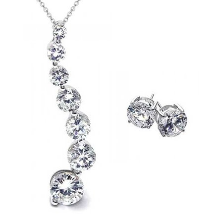 Journey Necklace Set - 2.5 Ctw Solitaire Round Cubic Zirconia CZ Love is a Journey Pendant Necklace Earring Set for Women 925 Sterling Silver
