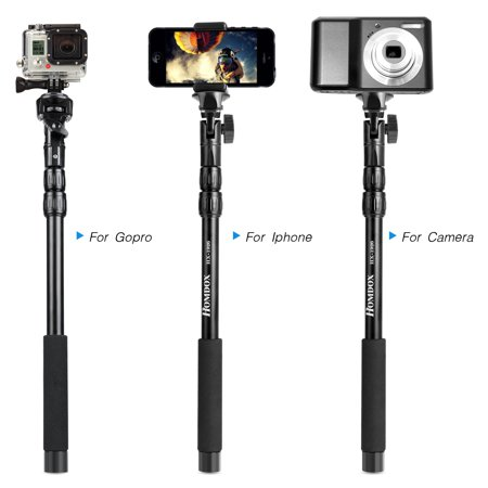 extendable monopod selfie stick for iphone gopro dslr camcorders handheld universal selfie stick. Black Bedroom Furniture Sets. Home Design Ideas