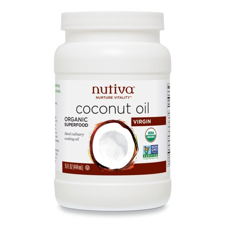 Nutiva Organic, Cold-Pressed, Unrefined, Virgin Coconut Oil from Fresh, non-GMO, Sustainably Farmed Coconuts, 15 Fluid Ounces